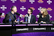 (L-R) Former NFL player Kurt Warner, SiriusXM host Joel Osteen and SiriusXM host Victoria Osteen speak onstage during day 3 of SiriusXM at Super Bowl LIV on January 31, 2020 in Miami, Florida.