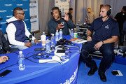 Actor/recording artist Jamie Foxx, Carolina Panthers quarterback Cam Newton and New Orleans Saints tight end Jimmy Graham attend SiriusXM at Super Bowl XLIX Radio Row at the Phoenix Convention Center on January 30, 2015 in Phoenix, Arizona.
