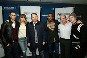(L-R) Andrew Garfield, Emma Stone, Director Marc Webb, Jamie Foxx, and Dane DeHaan of the cast of 'The Amazing Spider-Man 2' pose with SiriusXM Radio President and Chief Content Officer Scott Greenstein (2nd R) during a SiriusXM 'Town Hall' special with host Jamie Foxx on SiriusXM's The Foxxhole channel at the SiriusXM Studio on April 24, 2014 in New York City.