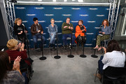 (L-R) Actors Sarah Chalke, Michael Fishman, Lecy Goranson,  John Goodman, and Roseanne Barr talk with SiriusXM host Sandra Bernhard during SiriusXM's Town Hall with the cast of Roseanne on March 27, 2018 in New York City.