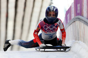 Shelley Rudman of Great Britain finishes a run during the Women's Skeleton heats on Day 6 of the Sochi 2014 Winter Olympics at Sliding Center Sanki on February 13, 2014 in Sochi, Russia.