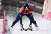 Jerry Rice of Great Britain slides into the finish area during the Men's Skeleton heats at Olympic Sliding Centre on February 16, 2018 in Pyeongchang-gun, South Korea.