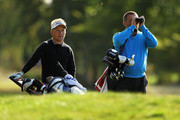 Mark Sparrow of Himley Park Golf Club and Matt McGuire of Stoneleigh Deer Park Golf Club look on during the final day of the Skins PGA Fourball Championships at Forest Pines Hotel and Golf Resort on October 7, 2011 in Brigg, England.