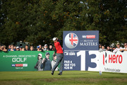 Edoardo Molinari of Italy tees off on the 13th hole during Day Three of Sky Sports British Masters at Walton Heath Golf Club on October 13, 2018 in Tadworth, England.
