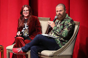 "Megan Mullally and Nick Offerman appear on stage to discuss their book ""The Greatest Love Story Ever Told"" presented by Skylight Books at Aratani Theatre on October 3, 2018 in Los Angeles, California., California."