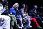 (L-R) Daveed Diggs, Alison Wright, Mickey Sumner, Lena Hall, Sheila Vand, Steven Ogg and Graeme Manson speak onstage at the Snowpiercer panel during New York Comic Con at Hammerstein Ballroom on October 05, 2019 in New York City.