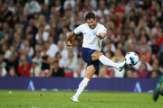 Jamie Redknapp kicks the ball during the Soccer Aid for UNICEF 2018 match between England and The Rest of the World at Old Trafford on June 10, 2018 in Manchester, England.