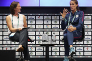 Jill Scott (R) of Manchester City talks during day 1 of the Soccerex Global Convention at Manchester Central Convention Complex on September 4, 2017 in Manchester, England.
