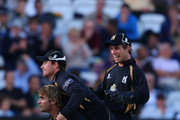 Warwickshire bowler Imran Tahir (floor) celebrates with team mates afterdismissing Somerset batsman Jos Buttler during the Clydesdale Bank 40 Final between Somerset and Warwickshire at Lord's Cricket Ground on September 18, 2010 in London, England.