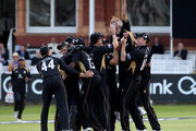 Imran Tahir of Warwickshire jumps in the air in celebration after taking his 5th wicket, that of Murali Kartik of Somerset during the Clydesdale Bank 40 Final match between Somerset and Warwickshire at Lord's Cricket Ground on September 18, 2010 in London, England.