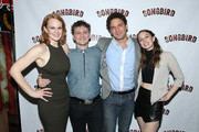 "(L-R) Actors Kate Baldwin, Adam Cochran, Eric William Morris and Ephie Aardema attend the ""Songbird"" opening night after party Johnny Utah's on October 28, 2015 in New York City."
