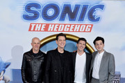 "(L-R) Producer Neal H. Moritz, Jim Carrey, director Jeff Fowler and Ben Schwartz attend the ""Sonic the Hedgehog"" London Fan Screening at Vue Westfield on January 30, 2020 in London, United Kingdom."