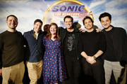 "(L-R) Producer Toby Ascher, Director Jeff Fowler, Heather Brooker, Jim Carrey, James Marsden and Ben Schwartz  attends the ""Sonic The Hedgehog"" Parent Blogger / Influencer Conference featuring James Marsden, Ben Schwartz & Jim Carrey with host Heather Brooker at the Four Seasons Los Angeles at Beverly Hills on January 24, 2020 in Los Angeles, California."