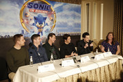 "Producer Toby Ascher, Director Jeff Fowler, Jim Carrey, James Marsden, Ben Schwartz and Heather Brooker speak onstage during the ""Sonic The Hedgehog"" Parent Blogger / Influencer Conference featuring James Marsden, Ben Schwartz & Jim Carrey with host Heather Brooker at the Four Seasons Los Angeles at Beverly Hills on January 24, 2020 in Los Angeles, California."