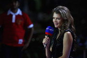 Annabel Croft of Great Britain for the Eurosport TV channel during the Sony Ericsson Championships at the Khalifa Tennis and Squash Complex on October 30, 2009 in Doha, Qatar.