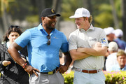 Former NFL player Ray Lewis talks to Brandt Snedeker of the United States during the pro-am prior to the Sony Open in Hawaii at the Waialae Country Club on January 08, 2020 in Honolulu, Hawaii.