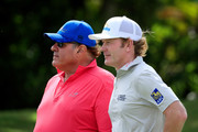 ESPN Sportscaster Chris Berman talks to Brandt Snedeker of the United States during the pro-am prior to the Sony Open in Hawaii at the Waialae Country Club on January 08, 2020 in Honolulu, Hawaii.
