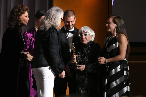 Academy Of Motion Picture Arts And Sciences' 11th Annual Governors Awards - Show [event,fashion,performance,dress,fashion design,formal wear,ceremony,stage,lina wertm\u00e31\u20444ller,sophia loren,jane campion,l-r,hollywood highland center,california,the ray dolby ballroom,academy of motion picture arts and sciences,11th annual governors awards,show]