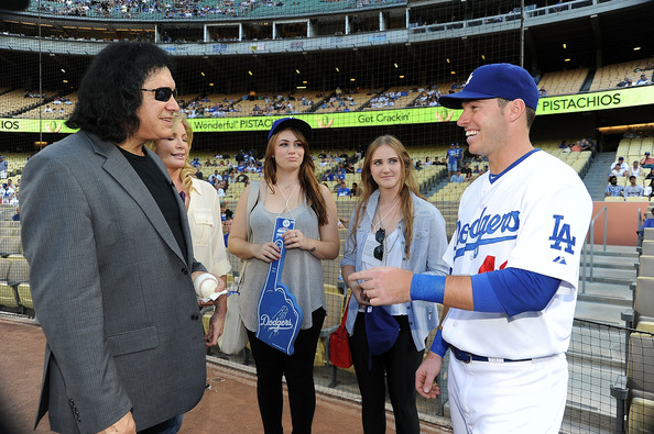 Gene Simmons Throws Out The First Pitch at the Dodgers Game [gene simmons throws out the first pitch,product,sport venue,stadium,fan,baseball,event,competition event,arena,championship,team,gene simmons,baseball player,pitch,v,l-r,dodgers,ny mets,game,game]