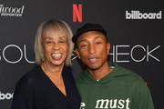 Gail Mitchell and Pharrell Williams attends Soundcheck: A Netflix Film and Series Music Showcase on November 04, 2019 in Los Angeles, California.
