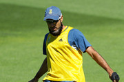 Imran Tahir takes part in a game of football during a South African nets session at Basin Reserve on March 10, 2015 in Wellington, New Zealand.