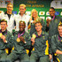 Sizwe Ndlovu Photos - Olympic Medal winners Chad le Clos, Cameron van der Burgh, Bridgitte Hartley, Caster Semenya, Matthew Brittan, Sizwe Ndlovu, John Smith and James Thompson pose during the South African Olympic team arrival and press conference at OR Tambo International Airport on August 14, 2012 in Johannesburg, South Africa. - South Africa Olympic Team Arrive Back In South Africa
