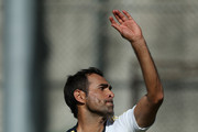 Imran Tahir bowls during a South African nets session at The Gabba on November 6, 2012 in Brisbane, Australia.