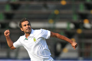 Imran Tahir celebrates the wicket of Peter Siddle of Australia for a duck during day 2 of the 2nd Sunfoil Series Test match between South Africa and Australia at Bidvest Wanderers on November 18, 2011 in Johannesburg, South Africa