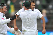 Imran Tahir of South Africa celebrates the wicket of Usman Khawaja of Australia for 65 runs during day four of the 2nd Test match between South Africa and Australia, at Bidvest Wanderers on November 20, 2011 in Johannesburg, South Africa