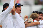 (L-R) Graeme Swann, Kevin Pietersen, Stuart Broad and James Anderson of England celebrate the wicket of JP Duminy of South Africa bowled first ball by Stuart Broad during day 4 of the 2nd test match between South Africa and England from Sahara Stadium Kingsmead on December 29, 2009 in Durban, South Africa.