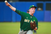 Dylan O´Brien #46 of South Africa pitches in the 2nd inning during a match between South Africa and Mexico as part of WBSC U-23 World Cup Group A Edgar Renteria Baseball Stadium on October 23, 2018 in Barranquilla, Colombia.