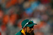 Imran Tahir of South Africa catches out Rahat Ali  of Pakistan during the 2015 ICC Cricket World Cup match between South Africa and Pakistan at Eden Park on March 7, 2015 in Auckland, New Zealand.