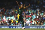 Imran Tahir of South Africa celebrates after taking the wicket of Mahela Jayawardene of Sri Lanka  during the 2015 ICC Cricket World Cup Quarter Final match between South Africa and Sri Lanka at Sydney Cricket Ground on March 18, 2015 in Sydney, Australia.