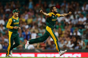 Imran Tahir of South Africa celebrates taking the wicket of Andre Russell of West Indies during the 2015 ICC Cricket World Cup match between South Africa and the West Indies at Sydney Cricket Ground on February 27, 2015 in Sydney, Australia.