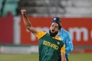 Imran Tahir of the Proteas celebrates the wicket of Dwayne Smith of the West Indies during the 1st Momentum ODI between South Africa and West Indies at Sahara Stadium Kingsmead on January 16, 2015 in Durban, South Africa.