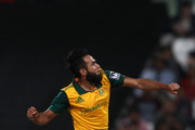 Imran Tahir of South Africa celebrates getting Chris Gayle of the West Indies wicket during the 1st KFC T20 International match between South Africa and West Indies at Sahara Park Newlands on January 09, 2015 in Cape Town, South Africa.