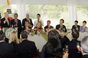 California Governor Jerry Brown (L) gives a toast to South Korean President Park Geun-hye (R) as Los Angeles Mayor Antonio Villaraigosa (2nd R) looks on during a welcoming luncheon at the Getty House on May 9, 2013 in Los Angeles, California. Park will visit Korean business leaders in Los Angeles today as she continues a five-day, unity-building visit to the United States. Park has been in the United States since Monday, when she visited the United Nations. She met with President Barack Obama on Tuesday and addressed a joint session of Congress on Wednesday.