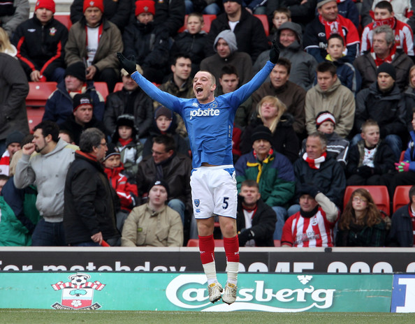 Jamie O'Hara of Portsmouth jumps for joy after scoring during the FA Cup sponsored by E.ON fifth round match between Southampton and Portsmouth at St Mary's Stadium on February 13, 2010 in Southampton, England.