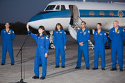 NASA's STS-131 mission specialist Japan Aerospace Exploration Agency astronaut Naoko Yamazaki  addresses the media after arriving in a Gulfstream jet at the shuttle landing facility at Kennedy Space Center March 5, 2010, in Cape Canaveral. The astronauts arrived to prepare for their upcoming launch aboard Space Shuttle Discovery, scheduled for April 5.