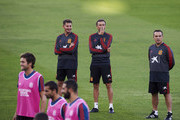 Head coach Luis Enrique of Spain attends a training session ahead of their UEFA Nations League match against Spain at Estadio Benito Villamarin on October 14, 2018 in Seville, Spain.