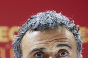 Luis Enrique, Spain Manager reacts during the Spain Press Conference at Estadio Benito Villamarin on October 14, 2018 in Seville, Spain.