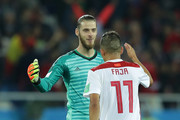 David De Gea of Spain shakes hands with Faycal Fajr of Morocco after the 2018 FIFA World Cup Russia group B match between Spain and Morocco at Kaliningrad Stadium on June 25, 2018 in Kaliningrad, Russia.