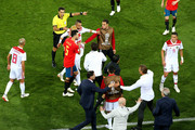 Morocco and Spain players clash during the 2018 FIFA World Cup Russia group B match between Spain and Morocco at Kaliningrad Stadium on June 25, 2018 in Kaliningrad, Russia.