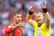 Sergio Ramos of Spain argues with referee Bjorn Kuipers after he awards Russia with a penalty during the 2018 FIFA World Cup Russia Round of 16 match between Spain and Russia at Luzhniki Stadium on July 1, 2018 in Moscow, Russia.