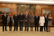 New Labour Minister Valeriano Gomez (L-R), new Foreign Minister Trinidad Jimenez, Regional Cooperation Minister Manuel Chaves, Spain's Prime Minister Jose Luis Rodriguez Zapatero, King Juan Carlos of Spain, Queen Sofia of Spain, new Deputy Prime Minister Alfredo Perez Rubalcaba, new Enviroment Minister Rosa Aguilar, new Presidency Minister Ramon Jauregui and new Health Minister Leire Pajin pose for a picture after their swearing-in ceremony at the Zarzuela Palace on October 21, 2010 in Madrid, Spain.