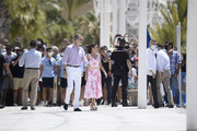 King Felipe VI of Spain and Queen Letizia of Spain walk through the seafront of Levante's beach on July 03, 2020 in Benidorm, Spain. This trip is part of a royal tour that will take King Felipe and Queen Letizia through several Spanish Autonomous Communities with the objective of supporting economic, social and cultural activity after the Coronavirus outbreak.