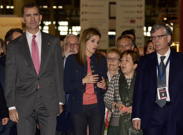 Princess Letizia of Spain (C) and Prince Felipe of Spain (L) attend the 'Alimentaria' gastronomic fair at the Fira Gran Via 2 on March 31, 2014 in Barcelona, Spain.