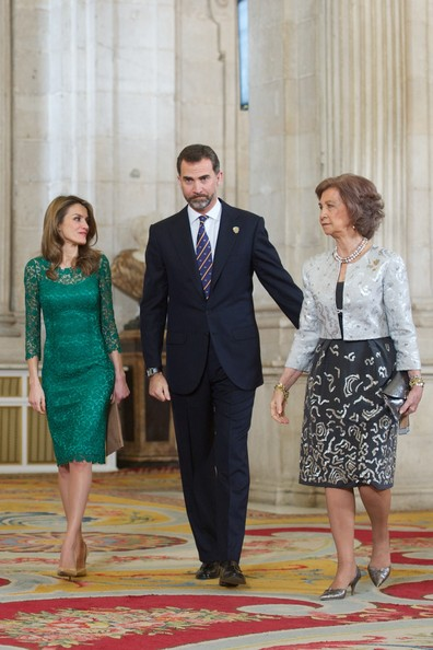 (L-R) Spanish Royals Princess Letizia, Prince Felipe and Queen Sofia receive International Olympic Committee Evaluation Commission Team for a dinner at the Royal Palace on March 20, 2013 in Madrid, Spain.