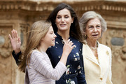 (L-R) Princess Leonor of Spain, Queen Letizia of Spain and Queen Sofia attend the Easter Mass at the Cathedral of Palma de Mallorca on April 21, 2019 in Palma de Mallorca, Spain.