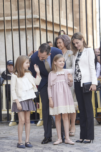 Spanish Royals (L-R) Princess Leonor of Spain, King Felipe VI of Spain, Queen Sofia, Queen Letizia of Spain and    Princess Sofia of Spain attend the Easter Mass at the Cathedral of Palma de Mallorca on April 5, 2015 in Palma de Mallorca, Spain.